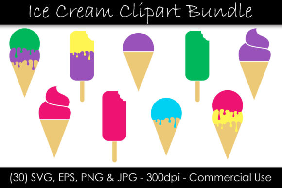 Ice Cream Cone & Popsicle Clipart  Graphic Illustrations By GJSArt