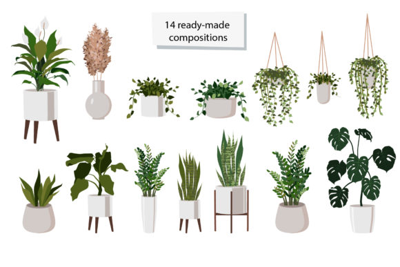 Download Free Indoor Plants Clipart Graphic By Lena Dorosh Creative Fabrica for Cricut Explore, Silhouette and other cutting machines.