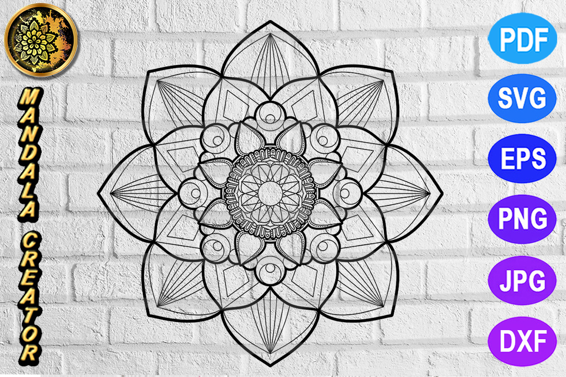 Download Free Mandala Monogram Vector Art Graphic By V Design Creator for Cricut Explore, Silhouette and other cutting machines.