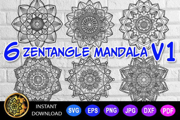 Print on Demand: Mandala Cut File Monogram Vector V-1 Graphic Coloring Pages & Books Adults By V-Design Creator