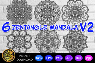 Print on Demand: Mandala Cut File Monogram Vector V-2 Graphic Coloring Pages & Books Adults By V-Design Creator