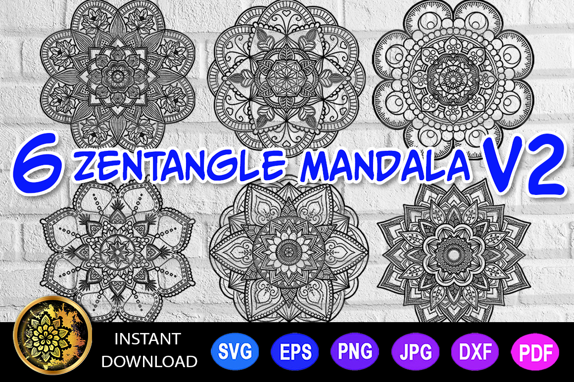Download Free Mandala Cut File Monogram Vector V 2 Graphic By V Design Creator for Cricut Explore, Silhouette and other cutting machines.