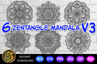 Print on Demand: Mandala Cut File Monogram Vector V-3 Graphic Coloring Pages & Books Adults By V-Design Creator