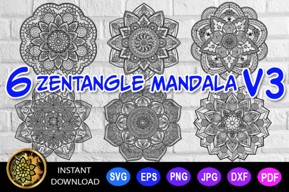 Mandala Cut File Monogram Vector V-3 Graphic Coloring Pages & Books Adults By Mandala Creator