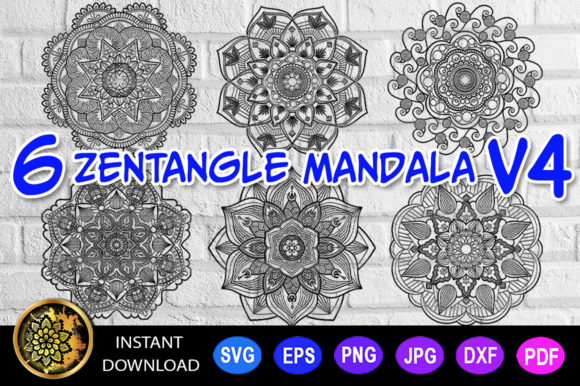 Mandala Cut File Monogram Vector V-4 Graphic