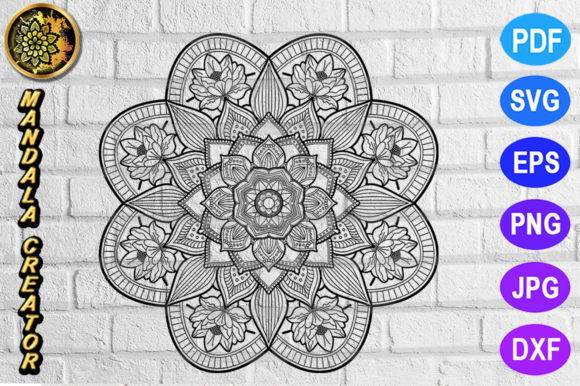 Mandala Monogram Entangle 7 Graphic Coloring Pages & Books Adults By V-Design Creator