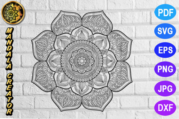 Download Free Simple Flower Mandala Set 6 Graphic By V Design Creator for Cricut Explore, Silhouette and other cutting machines.