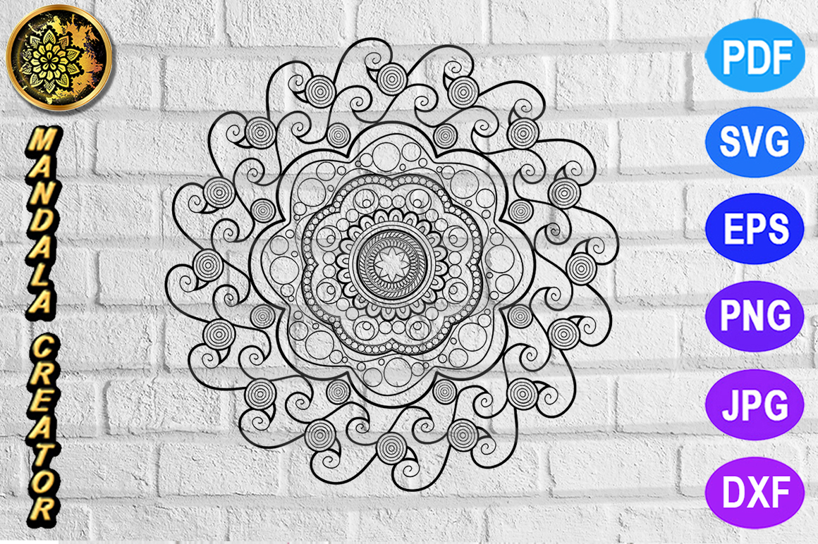 Download Free Mandala Monogram Entangle 21 Graphic By Mandala Creator for Cricut Explore, Silhouette and other cutting machines.