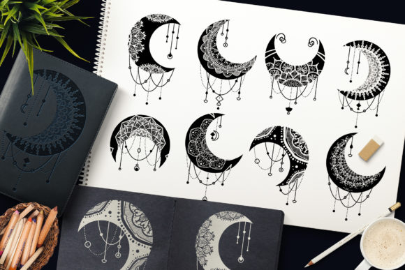 Print on Demand: Mandalas Crescent Moon Clipart Set Graphic Objects By barsrsind