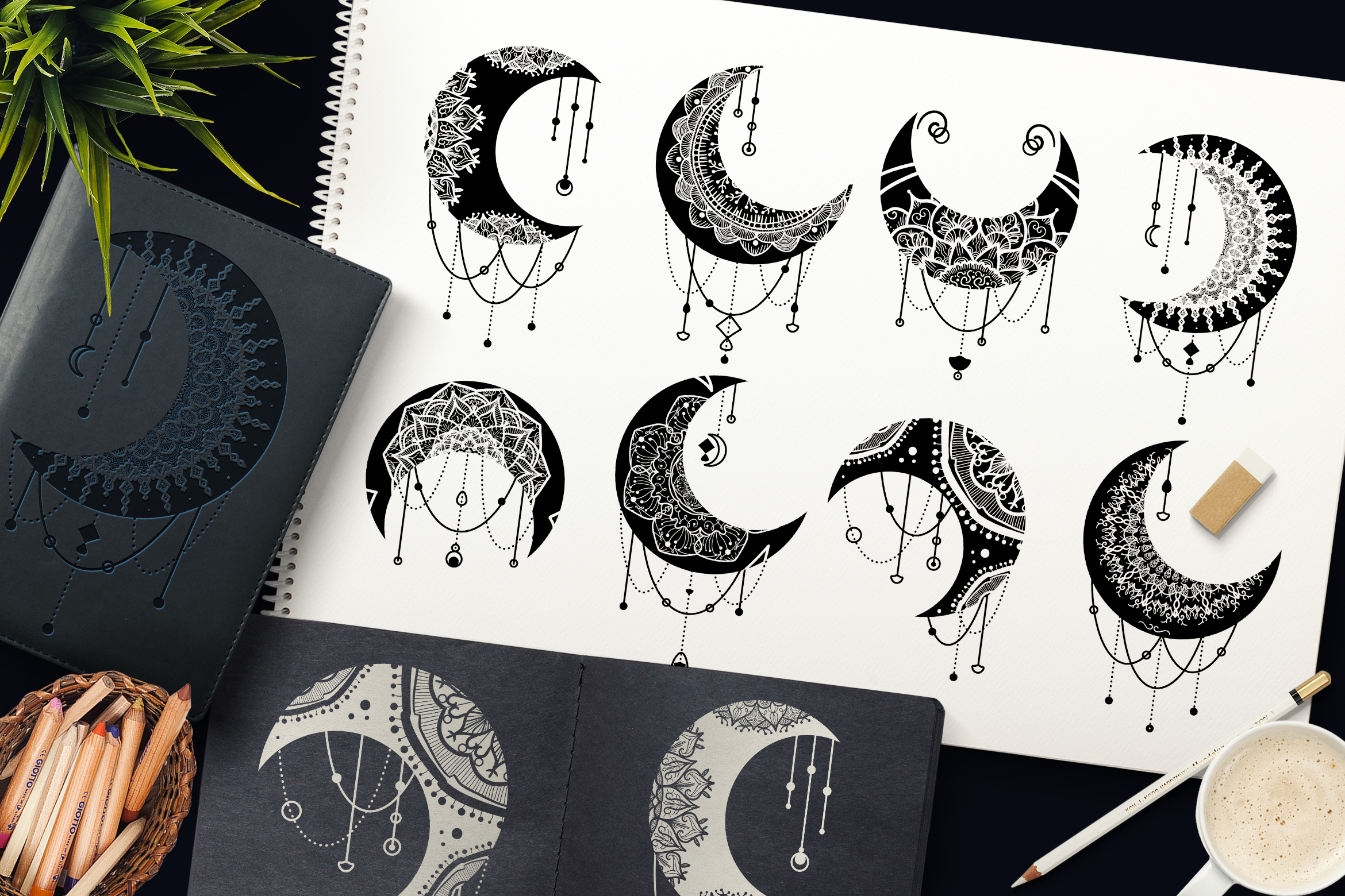 Download Free Mandalas Crescent Moon Clipart Set Graphic By Barsrsind for Cricut Explore, Silhouette and other cutting machines.