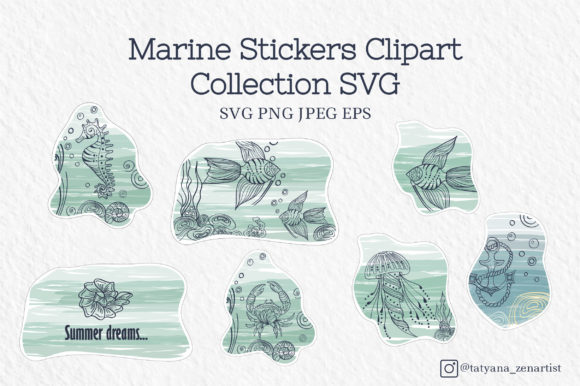 Marine Stickers Clipart Collection Graphic Crafts By Tatyana_Zenartist