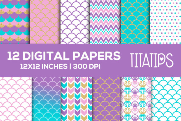 Download Free Mermaid Digital Paper Set Scale Pattern Graphic By Titatips for Cricut Explore, Silhouette and other cutting machines.