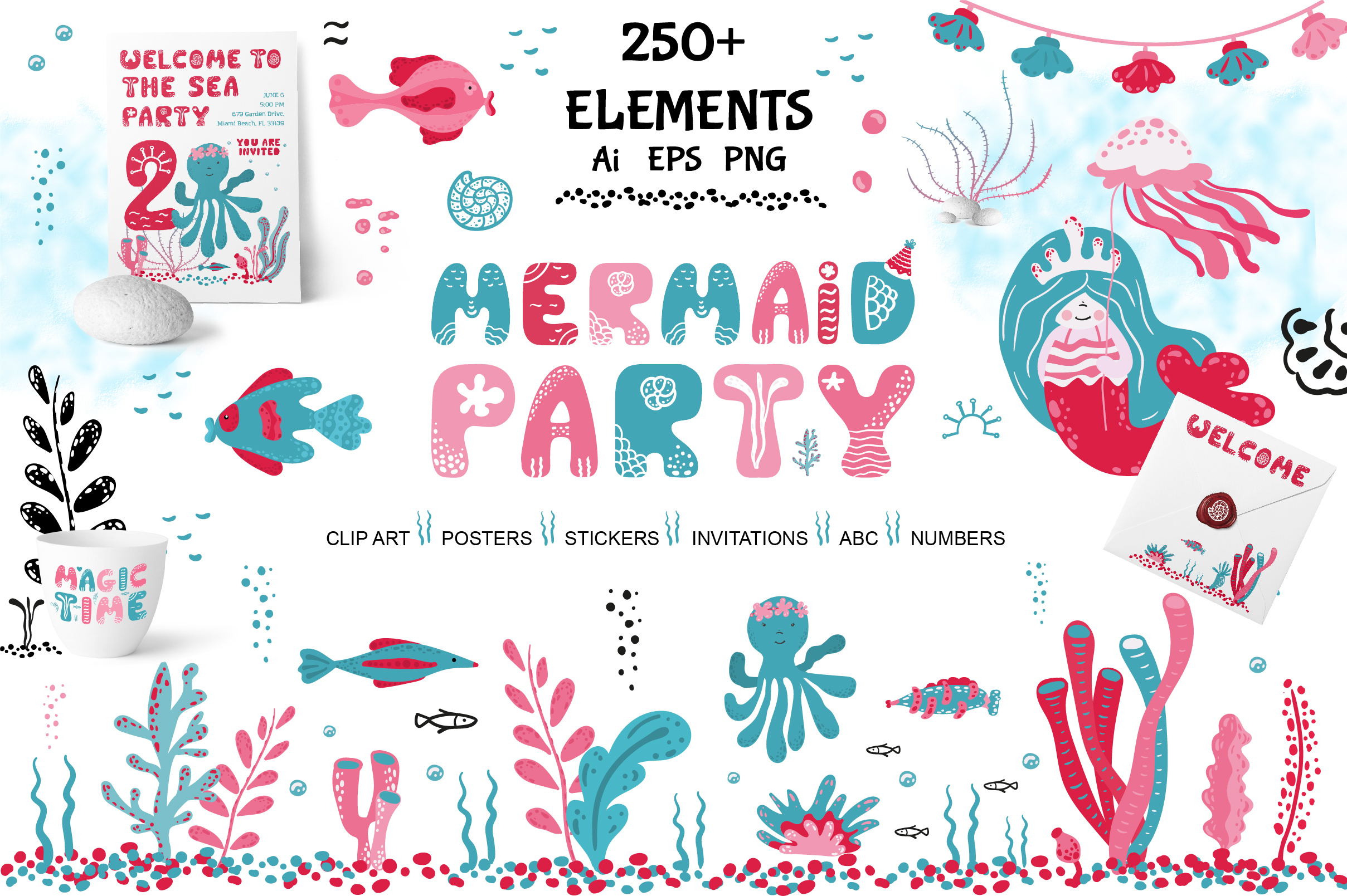 Download Free Mermaid Party Graphic By Komanna Art Creative Fabrica for Cricut Explore, Silhouette and other cutting machines.