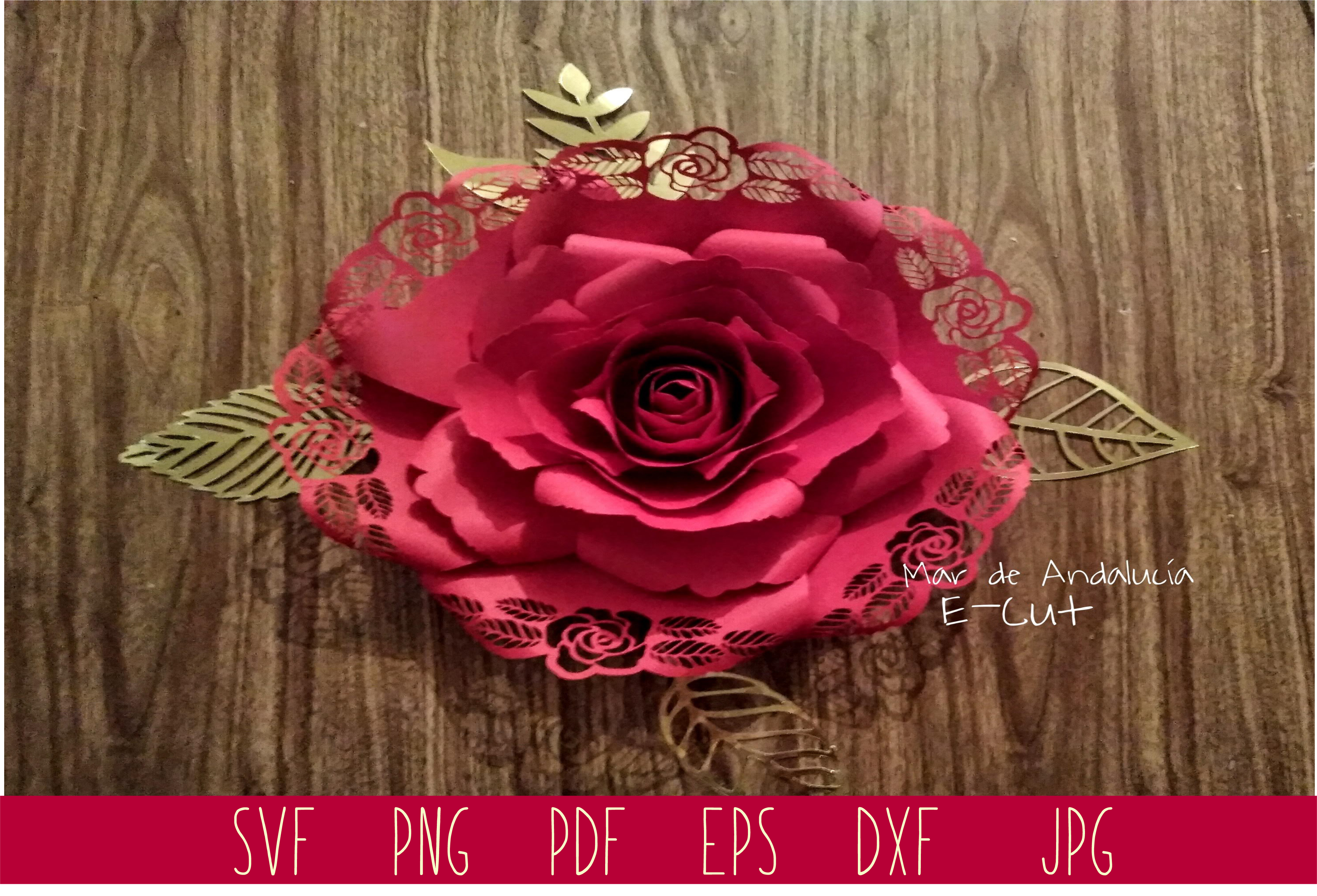 Download Free Middle Rose Template Graphic By Mar De Andalucia Creative Fabrica for Cricut Explore, Silhouette and other cutting machines.