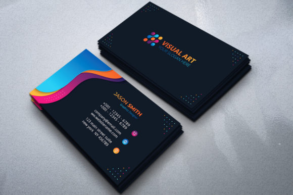 Download Free Modern Business Card With Colorful Shape Graphic By Medelwardi for Cricut Explore, Silhouette and other cutting machines.