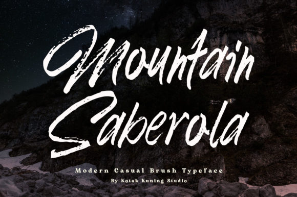Print on Demand: Mountain Saberola Display Font By Kotak Kuning Studio