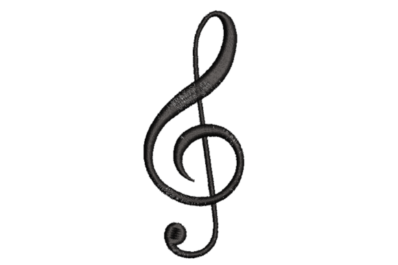Music Clef Music Embroidery Design By Alpine Mastiff Designs
