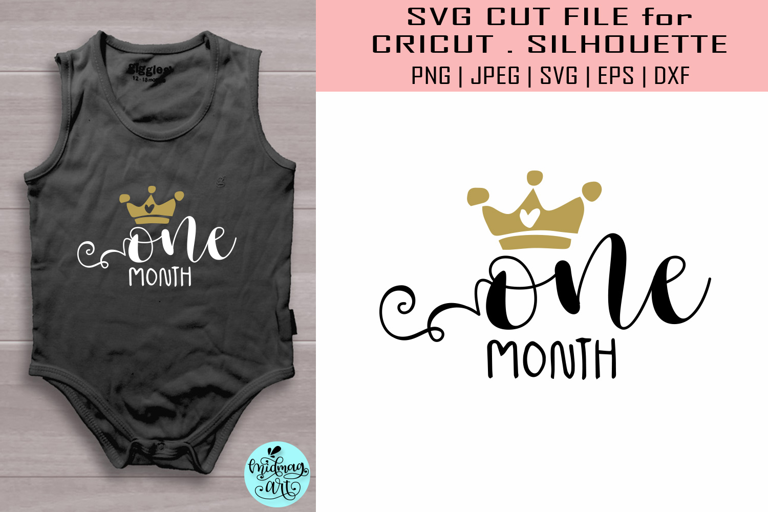 Download Free One Month Baby Graphic By Midmagart Creative Fabrica for Cricut Explore, Silhouette and other cutting machines.
