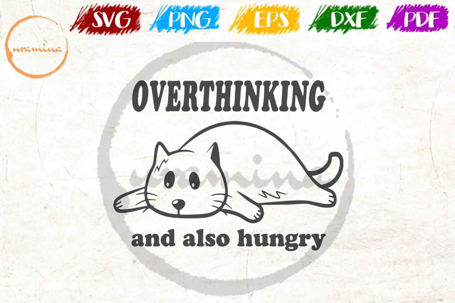 Download Free Overthinking And Also Hungry Graphic By Uramina Creative Fabrica for Cricut Explore, Silhouette and other cutting machines.