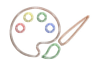 Painting Palette Scribble Stitch Hobbies & Sports Embroidery Design By SweetDesign