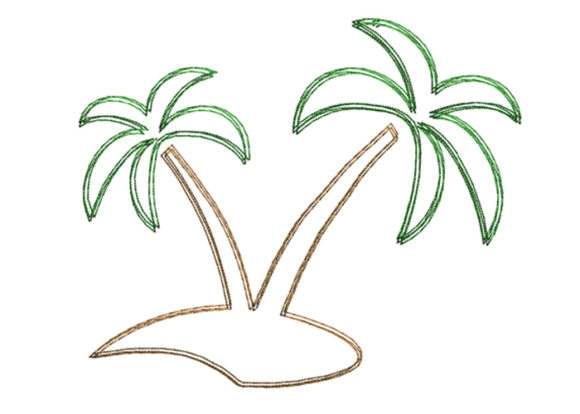 Palm Scribble Stitch Beach & Nautical Embroidery Design By SweetDesign