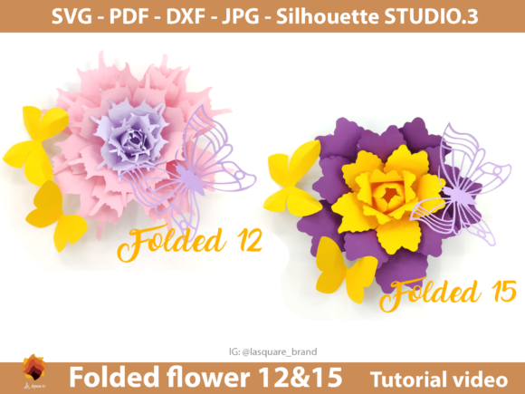 Download Free Paper Roses Paper Flower Template Graphic By Lasquare Info for Cricut Explore, Silhouette and other cutting machines.