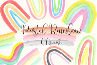 Pastel Rainbow Watercolor Clip Art Graphic Backgrounds By PinkPearly