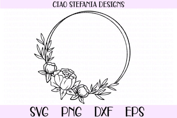 Download Free Peony Geometric Circle Wreath Graphic By Ciaostefaniadigital for Cricut Explore, Silhouette and other cutting machines.