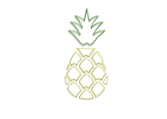 Pineapple Scribble Stitch Food & Dining Embroidery Design By SweetDesign