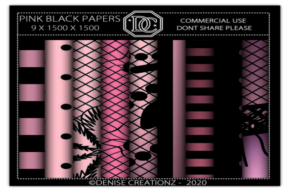 Pink and Black Papers Graphic Crafts By Denise Creationz