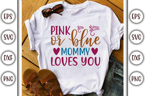 Download Free Pregnacy Design Pink Or Blue Mommy Graphic By Graphicsbooth for Cricut Explore, Silhouette and other cutting machines.