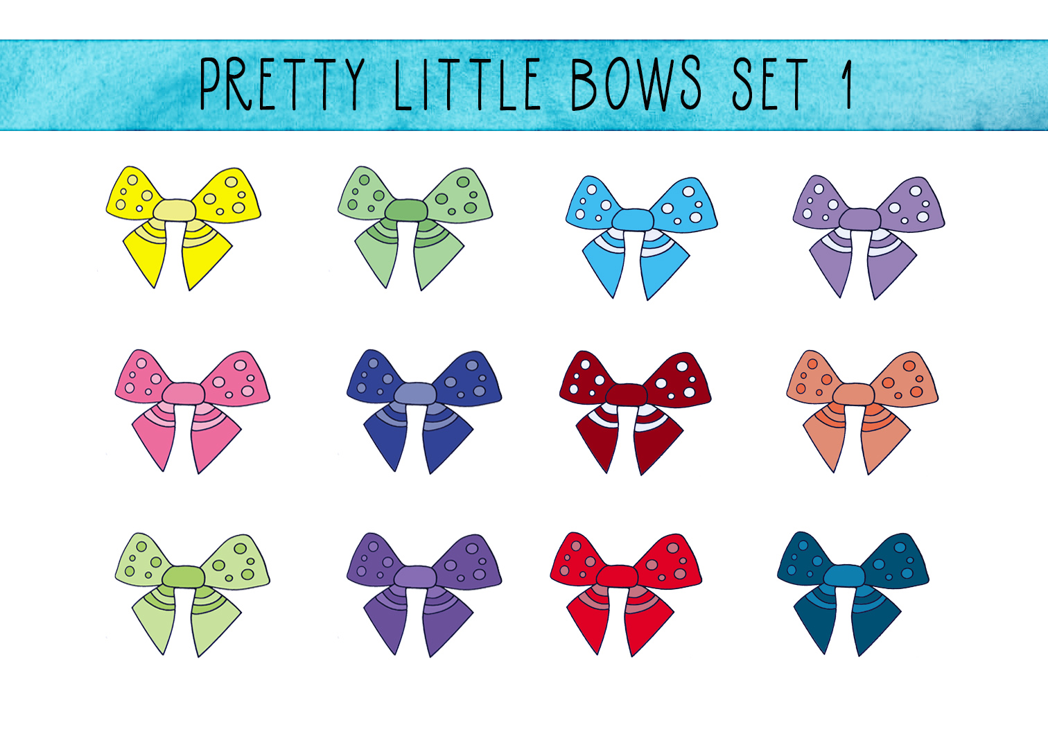 Download Free Pretty Little Bows Set 1 Graphic By Capeairforce Creative Fabrica for Cricut Explore, Silhouette and other cutting machines.