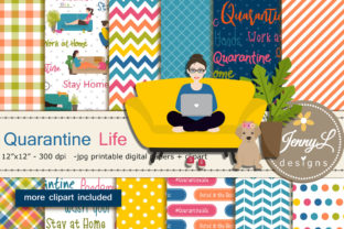 Quarantine Digital Papers & Clipart Graphic Patterns By jennyL_designs
