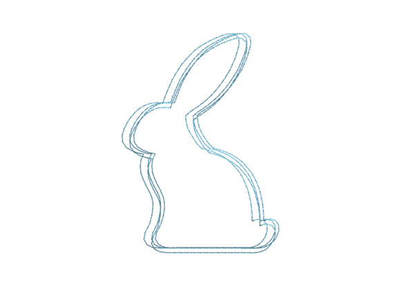 Rabbit Scribble Stitch Easter Embroidery Design By SweetDesign