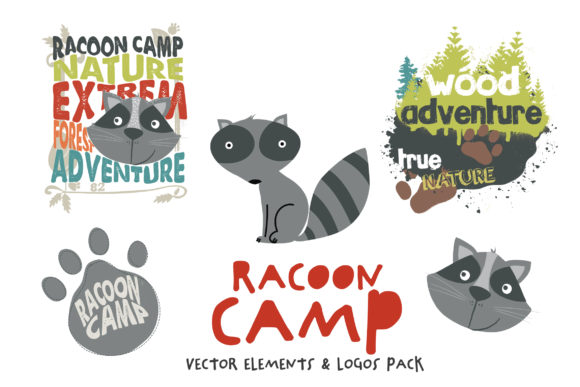 Racoon Camp Vectors Pack Graphic Illustrations By SmartDesigns