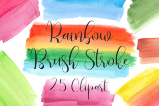 Rainbow Watercolor Brush Stroke Clip Art Graphic Backgrounds By PinkPearly