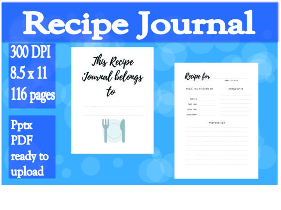 Print on Demand: Recipe Journal Graphic KDP Interiors By Ivana Prue