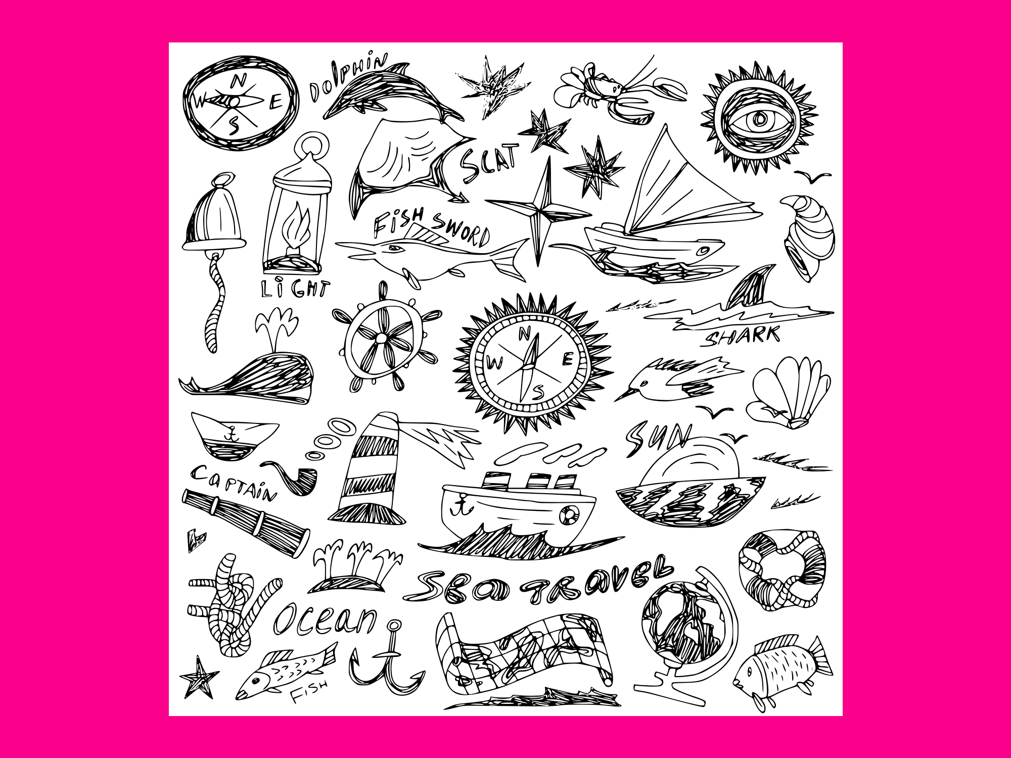 Download Free Sea Travel Doodles Vector Grafik Von Anrasoft Creative Fabrica for Cricut Explore, Silhouette and other cutting machines.