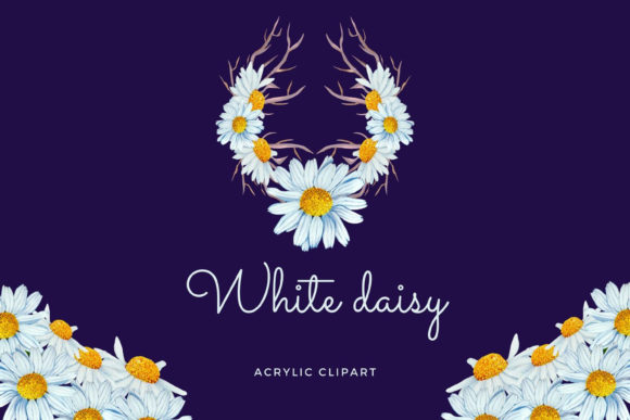Print on Demand: Set of 10 Acrylic Daisy Bouquets Graphic Illustrations By Andreea Eremia Design