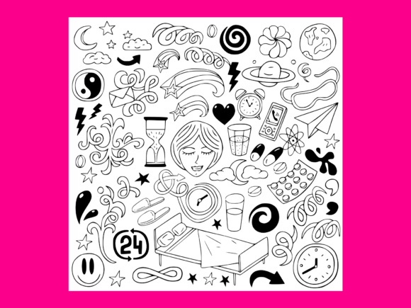 Download Free Sleep Doodles Vector Graphic By Anrasoft Creative Fabrica for Cricut Explore, Silhouette and other cutting machines.