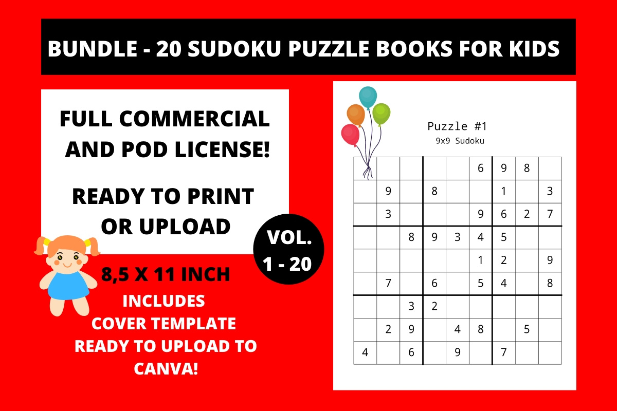 Download Free Sudoku Print Ready Books For Kids Bundle Creative Fabrica for Cricut Explore, Silhouette and other cutting machines.