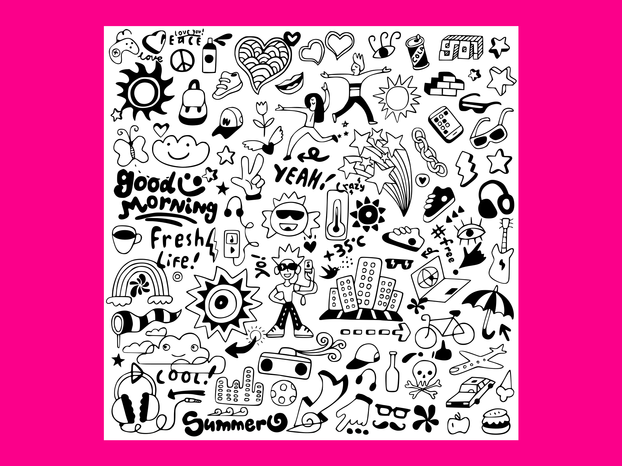 Download Free Summer Doodle Set 3 Graphic By Anrasoft Creative Fabrica for Cricut Explore, Silhouette and other cutting machines.