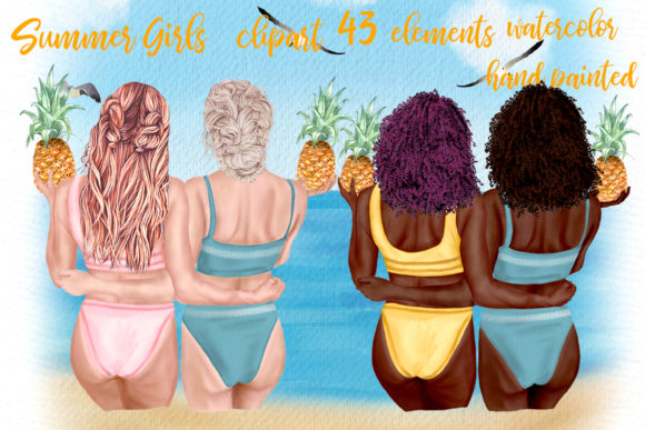 Clipart Beach Girls Graphic Illustrations By LeCoqDesign