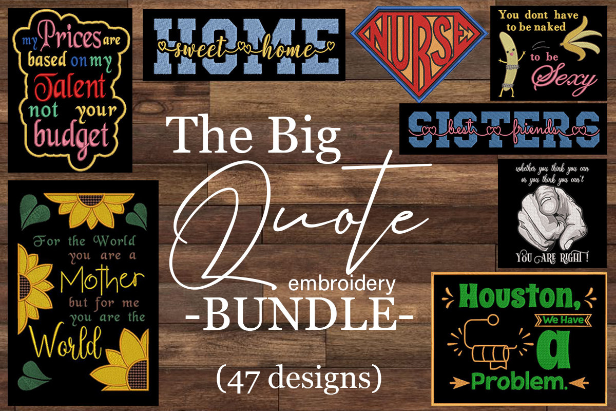 Download Free The Big Embroidery Quotes Bundle Bundle Creative Fabrica for Cricut Explore, Silhouette and other cutting machines.
