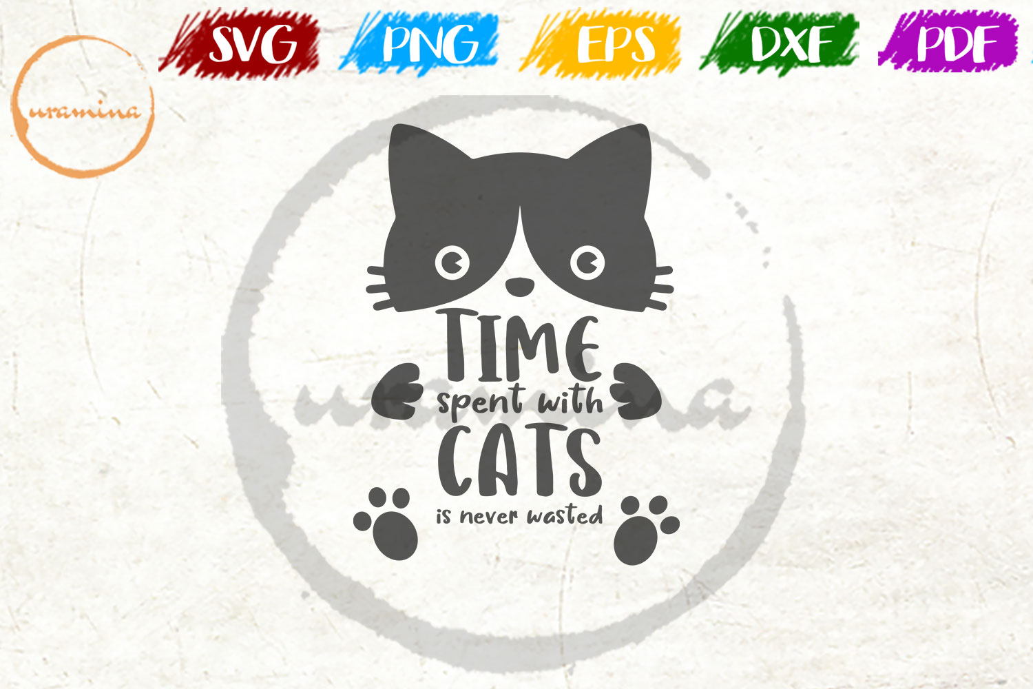 Time Spent With Cats Is Never Wasted Grafico Por Uramina