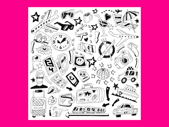 Download Free Travel Doodles 7 Grafico Por Anrasoft Creative Fabrica for Cricut Explore, Silhouette and other cutting machines.