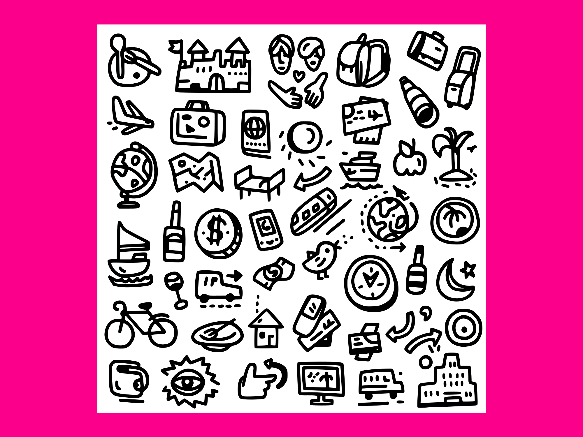 Download Free Travel Doodles 3 Graphic By Anrasoft Creative Fabrica for Cricut Explore, Silhouette and other cutting machines.