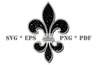 Download Free Vintage Fleur De Lis Black And White Graphic By Graphicsfarm for Cricut Explore, Silhouette and other cutting machines.