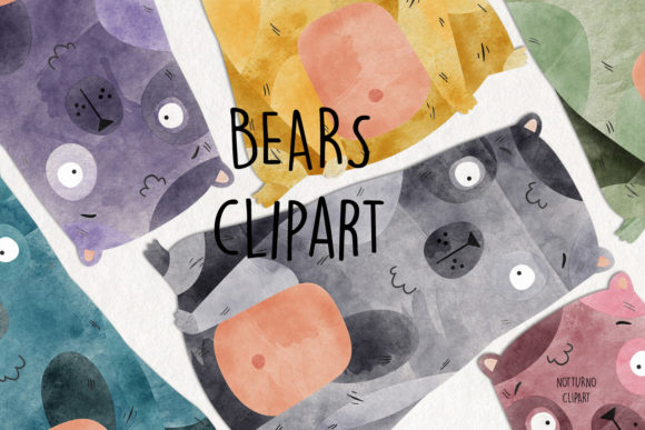 Watercolor Bear Clipart Set Of 15 Graphic By Notturnoclipart Creative Fabrica