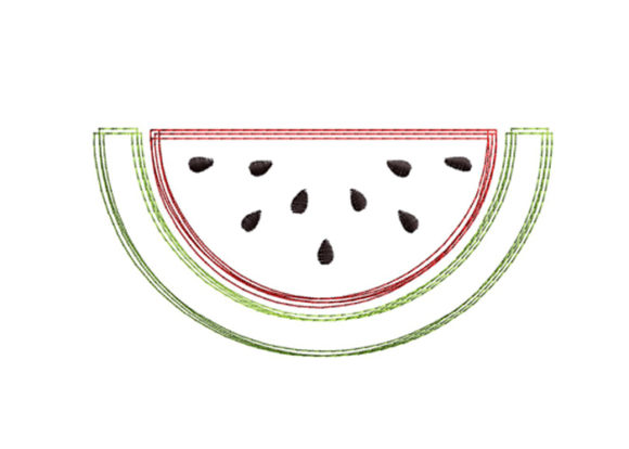 Watermelon Scribble Stitch Food & Dining Embroidery Design By SweetDesign